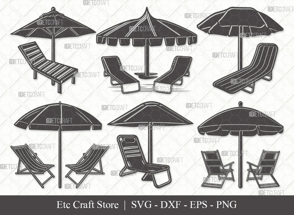 Beach Chairs With Umbrella Silhouette SVG