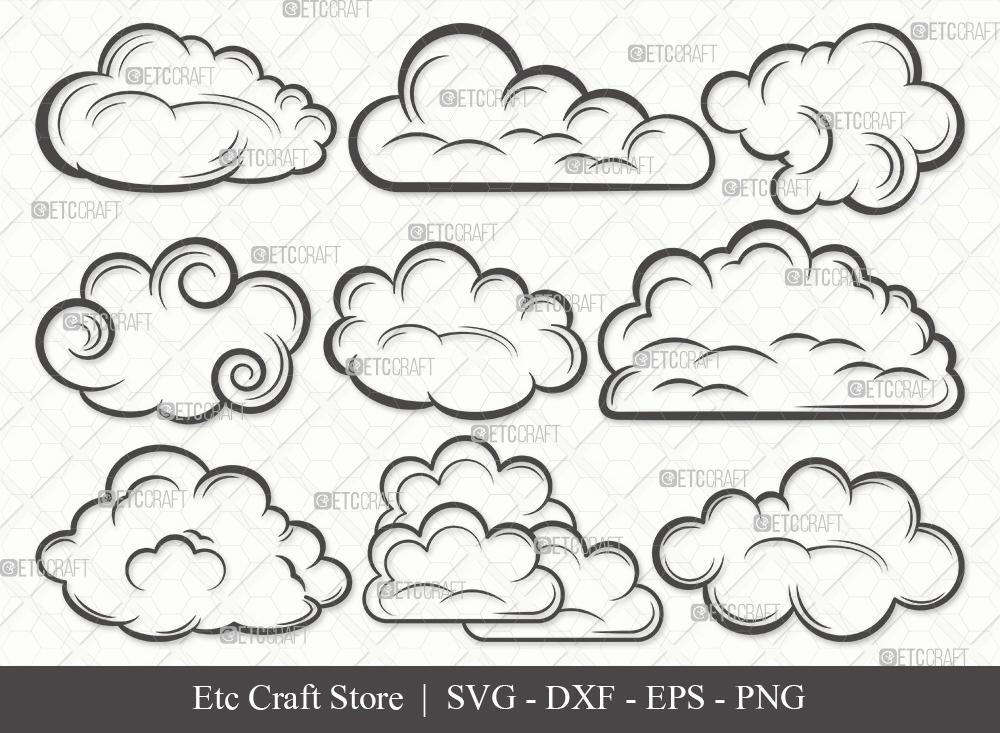 Cloud Outline SVG Cut File   Rain Cloud SVG Bundle