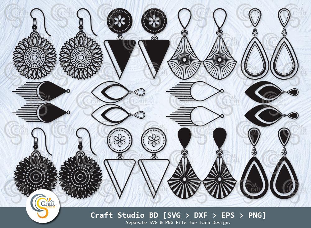 Earrings Silhouette, Jewelry, Earing SVG Bundle
