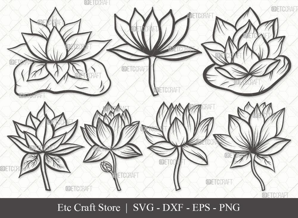 Lotus Flower Outline SVG | Lotus Flower SVG