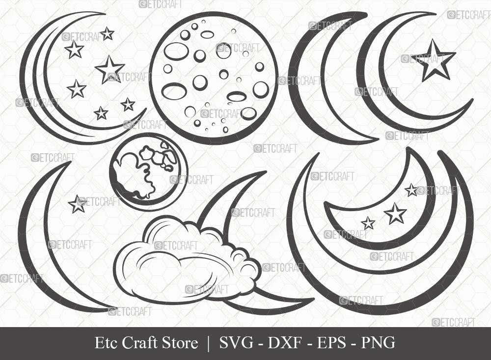 Moon Outline SVG Cut File | Half Moon Svg