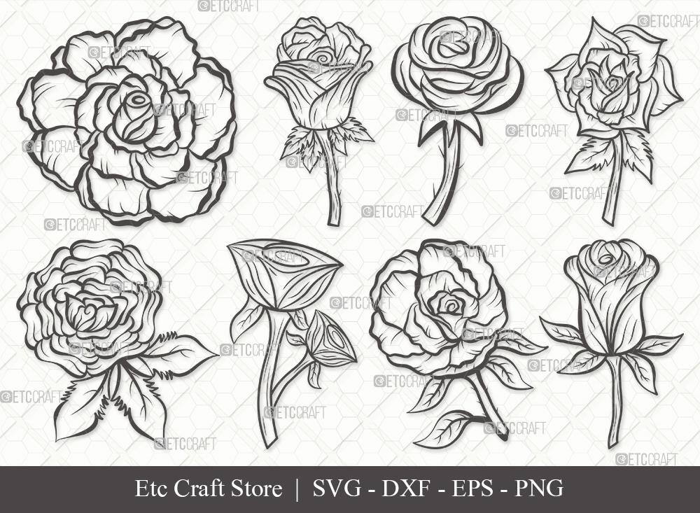 Rose Flower Outline SVG | Flower | Rose Svg