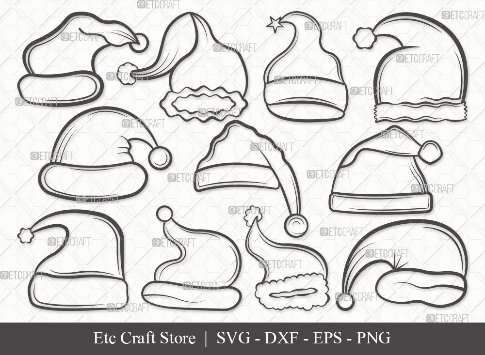 Santa Hat Outline SVG   Christmas Hat Svg