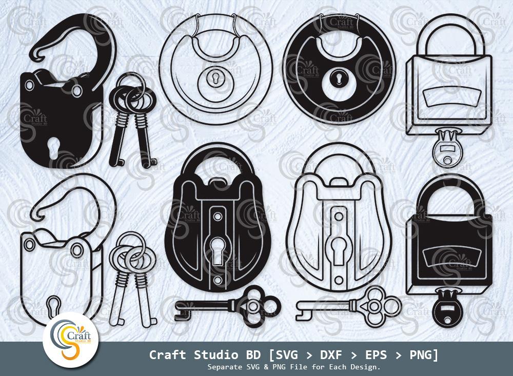 Lock And Key Silhouette, Lock SVG Bundle