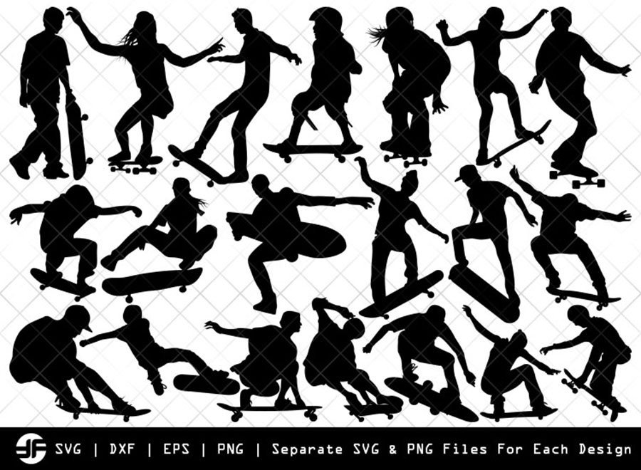 Skateboarding SVG | Skate SVG | Silhouette Bundle | Cut File