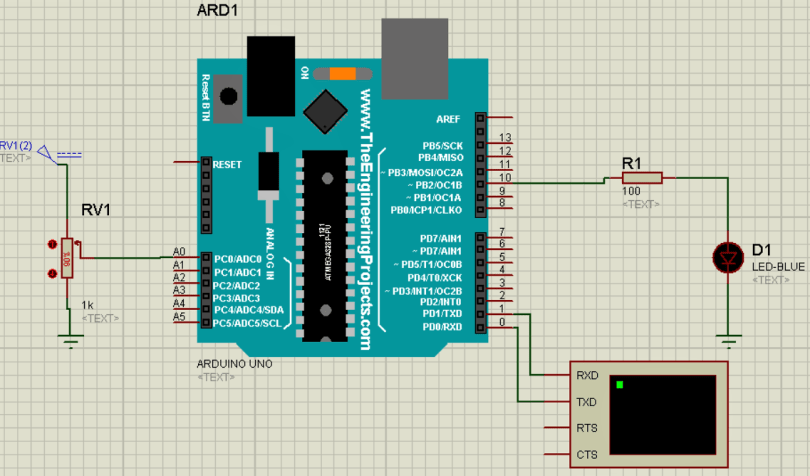 Circuit connections of changing LED brightness using Arduino Library for proteus