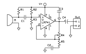 Electret Microphone Preamplifier Circuit