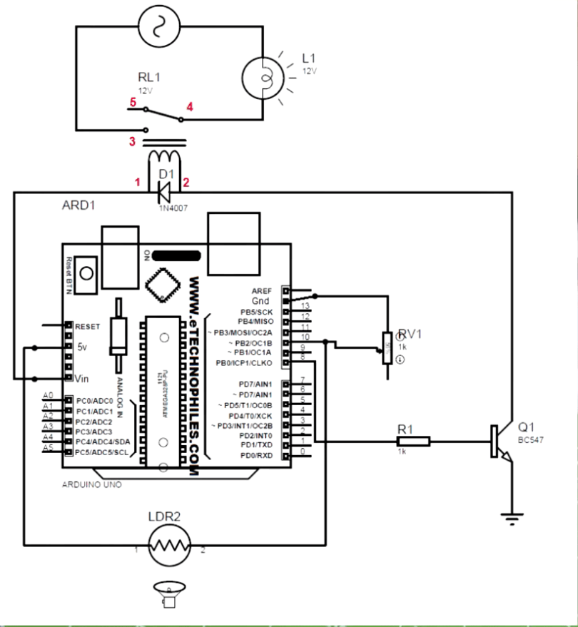 CIRCUIT DIAGRAM OF AUTOMATED STREET LIGHT USING LDR