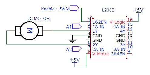 Circuit example for working of L293D IC