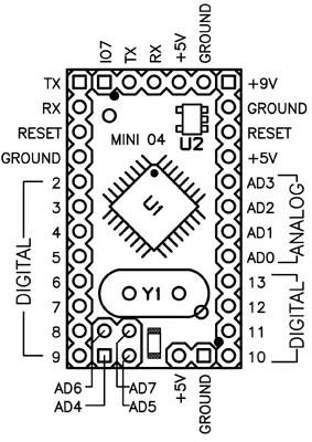 Arduino Pro Mini 04 / 05 pinout