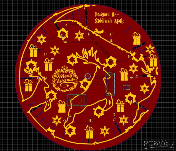 Christmas Clock PCB designed in software