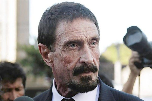 John Mcafee, U.S. anti-virus software guru, addresses a news conference outside the Supreme Court of Justice in Guatemala City
