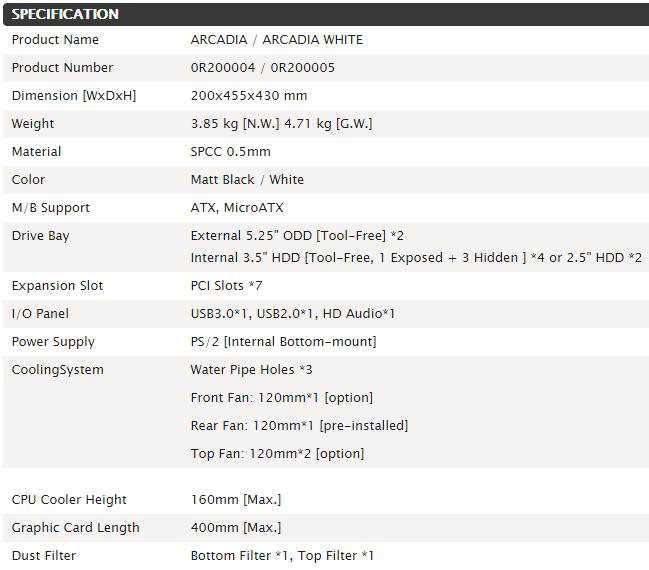 Raijintek Arcadia Specifications