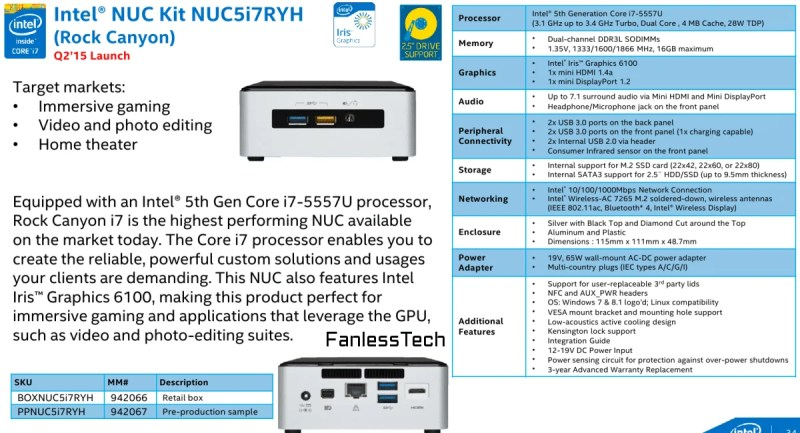 Intel NUC Features Iris 6100 i7 Broadwell specs