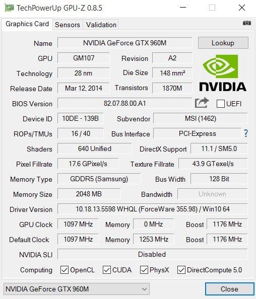 MSI GE62 6QD GPU-Z