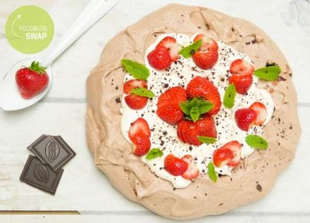 pavlova chocola aardbei
