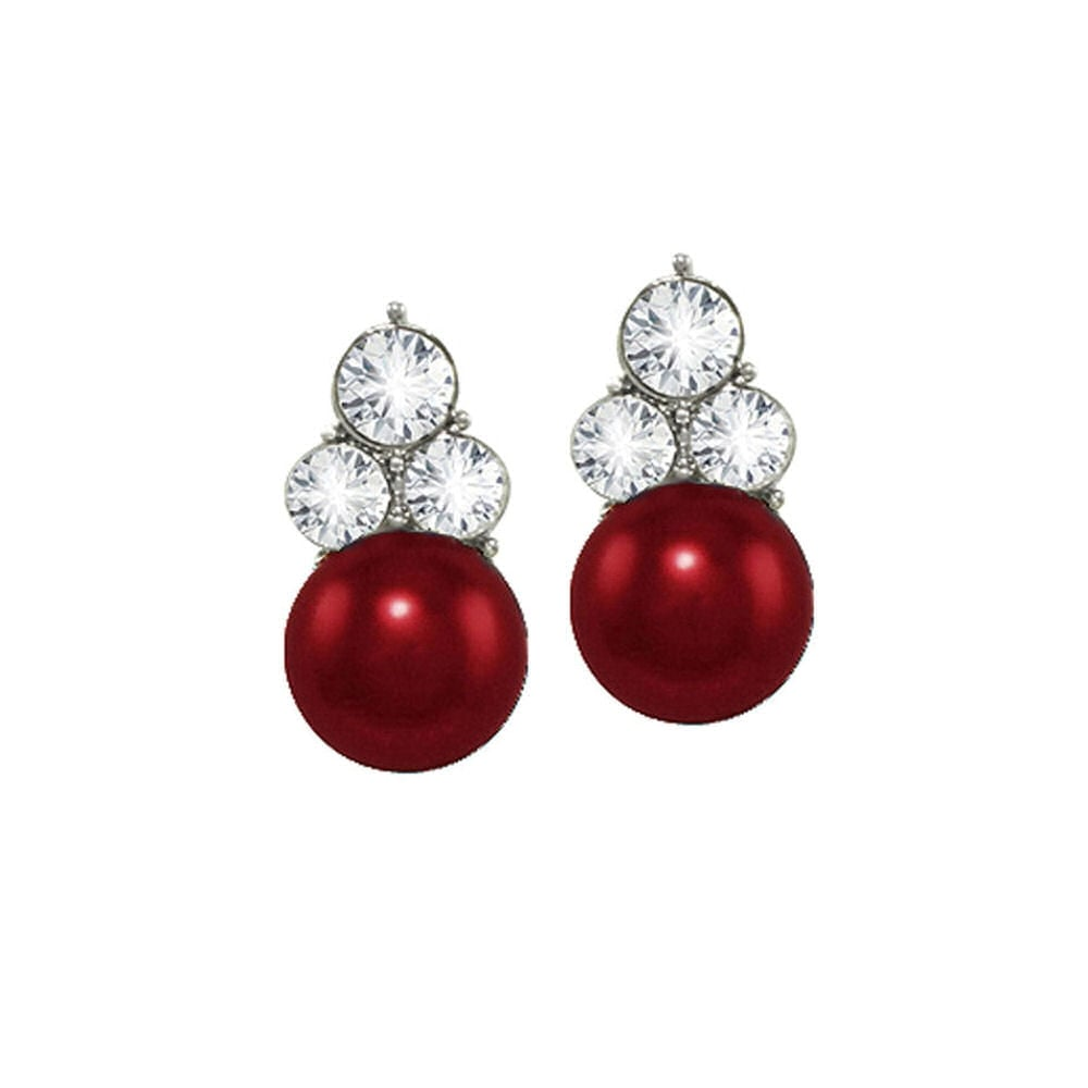 Signature Burgundy Red Glass Pearl and Crystal Silver Tone