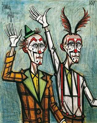 Deux clowns bras levés, par Bernard Buffet