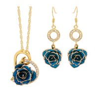 Blue Matching Pendant and Earring Set