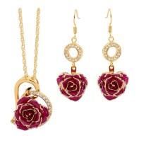 Purple Matching Pendant and Earring Set - Heart Theme 24K Gold