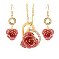 Pink Matching Pendant and Earring Set