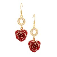 Red Matched Set in 24K Gold Heart Theme. Glazed Rose ...