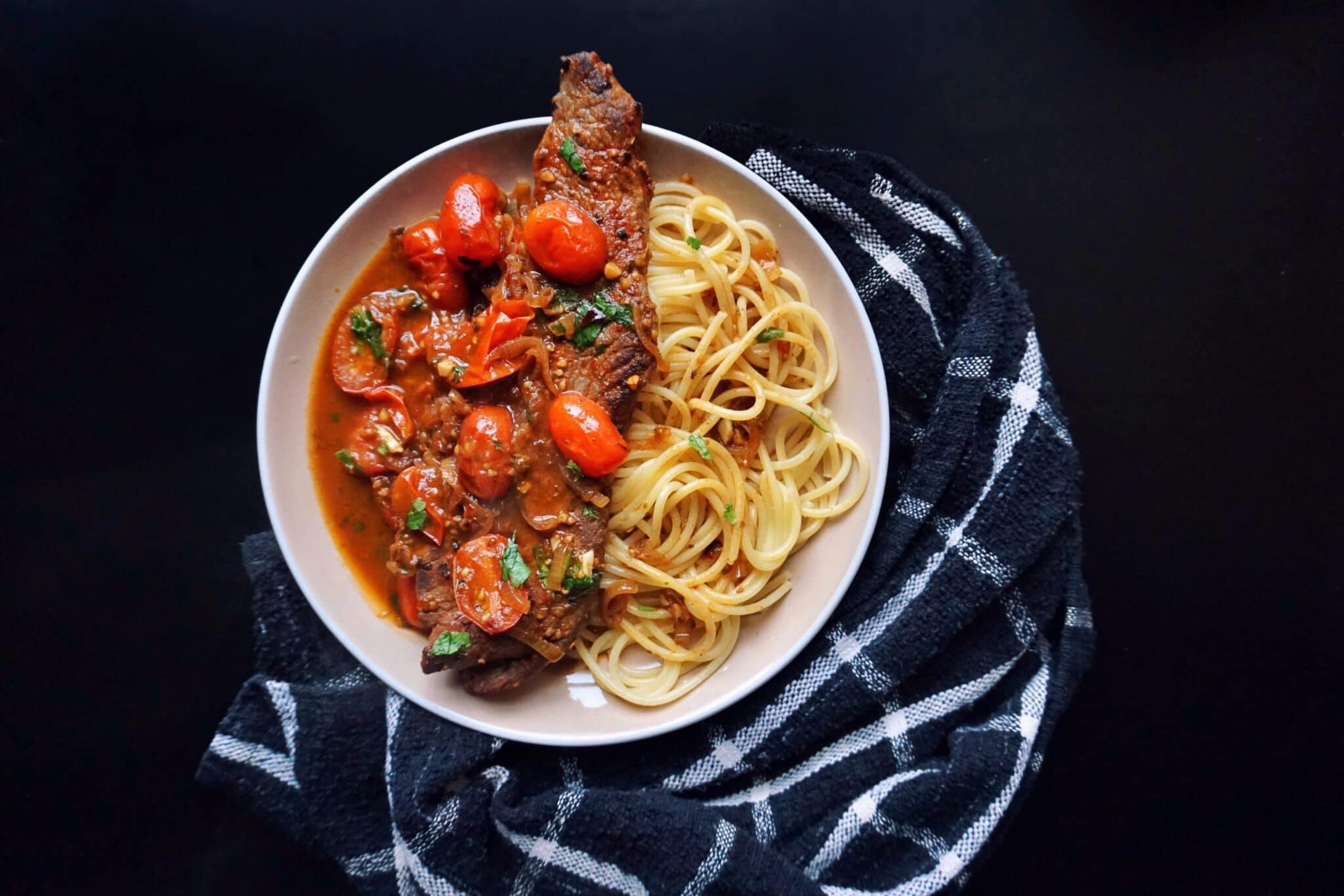 Easy Steak Recipe with Tomato Sauce