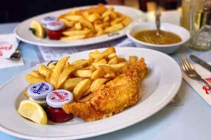 Image of a plate of Fish & Chips at Poppies Fish & Chips