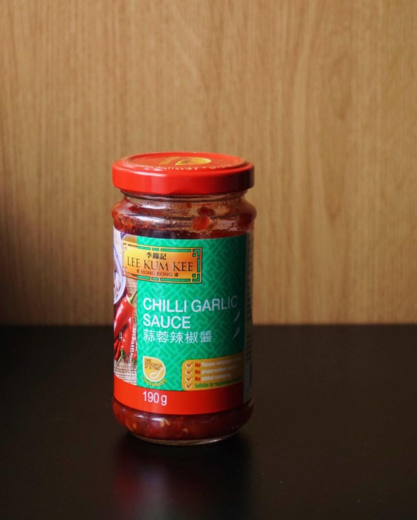 A jar of Lee Kum Kee Chilli Garlic Sauce