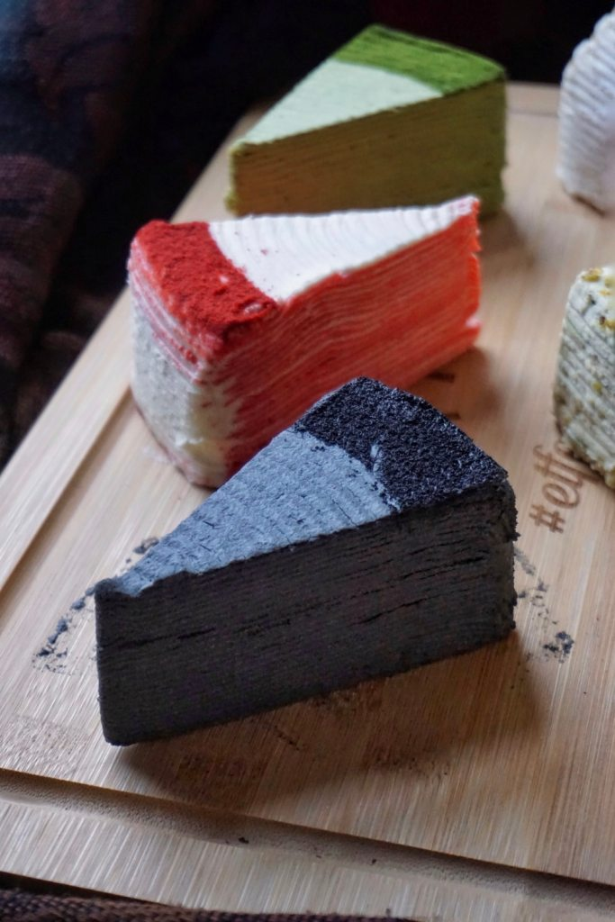 Black Sesame Mille Crepe Cake Slice by Sakurado London