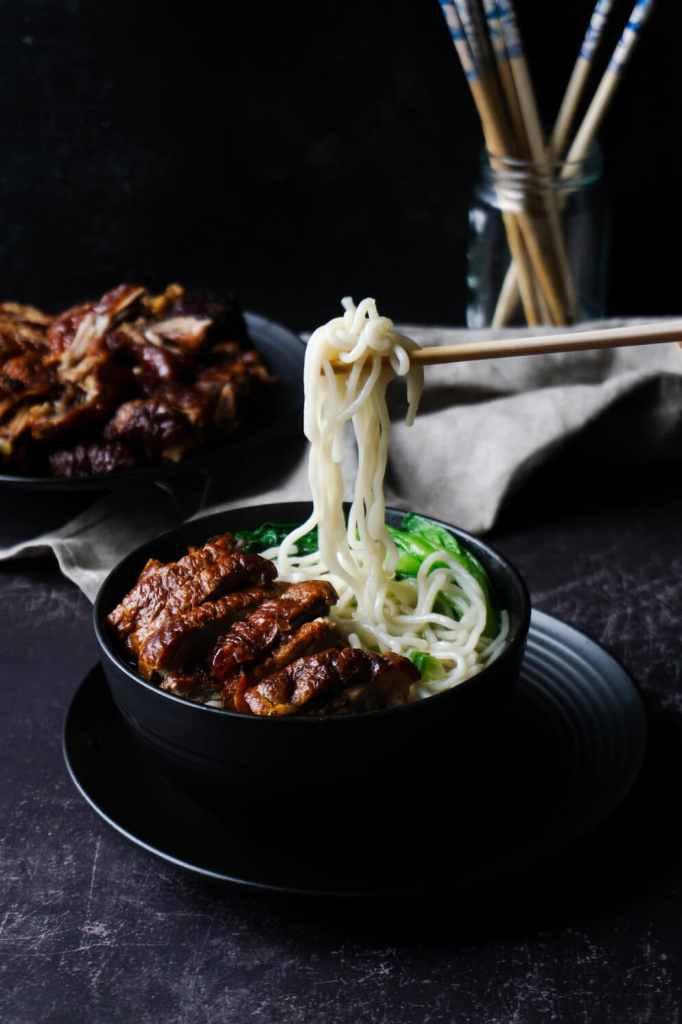 A bowl of Roast Duck Noodle Soup
