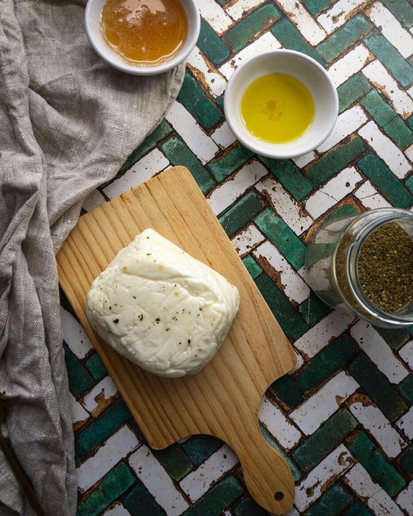 Ingredients for making Honey Za'atar Halloumi
