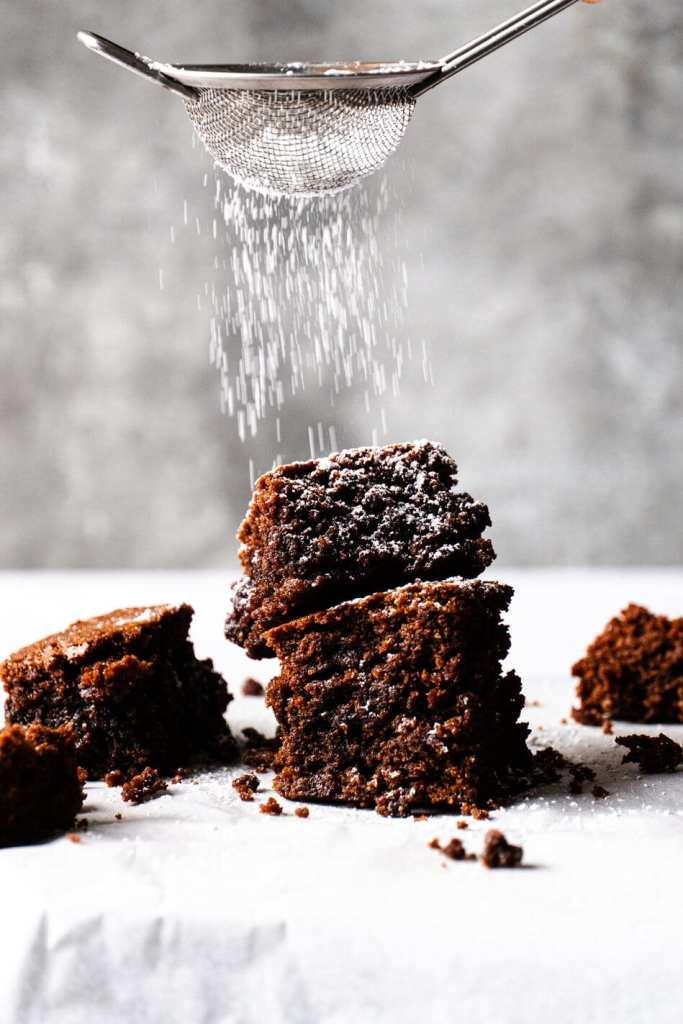 Chocolate Brownie with Icing Sugar