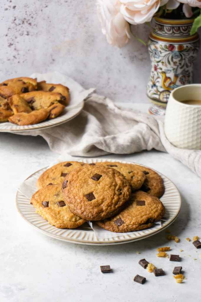 Plate of soft chocolate chip cookies