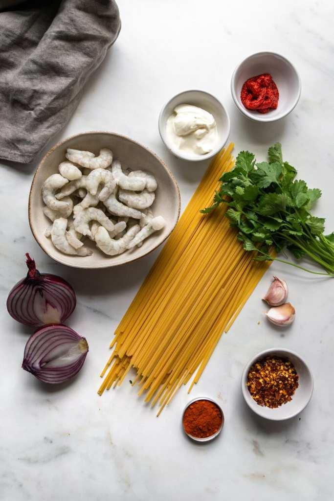 Ingredients for Paprika Cream Prawn Linguine