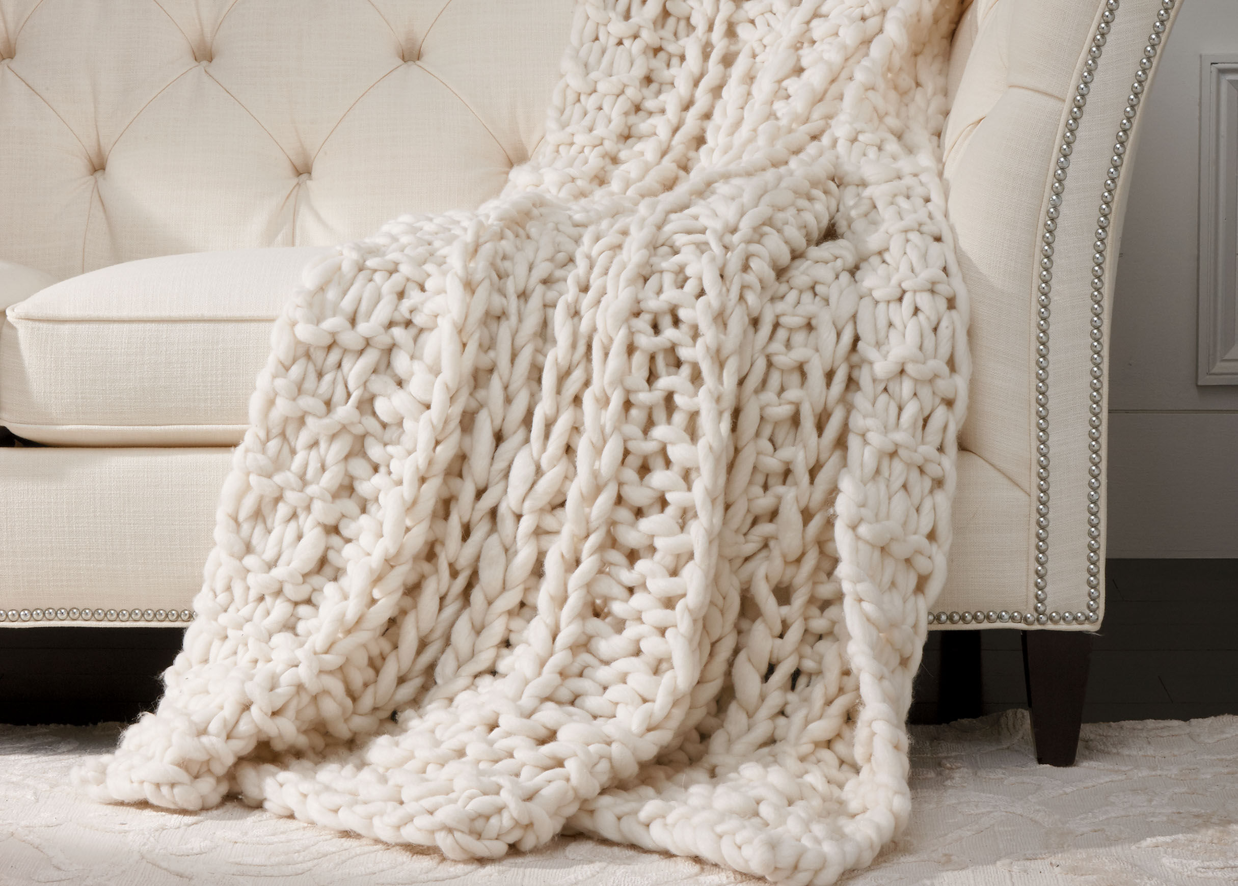 Cross Cable Knit Throw Ivory  Throw  Ethan Allen