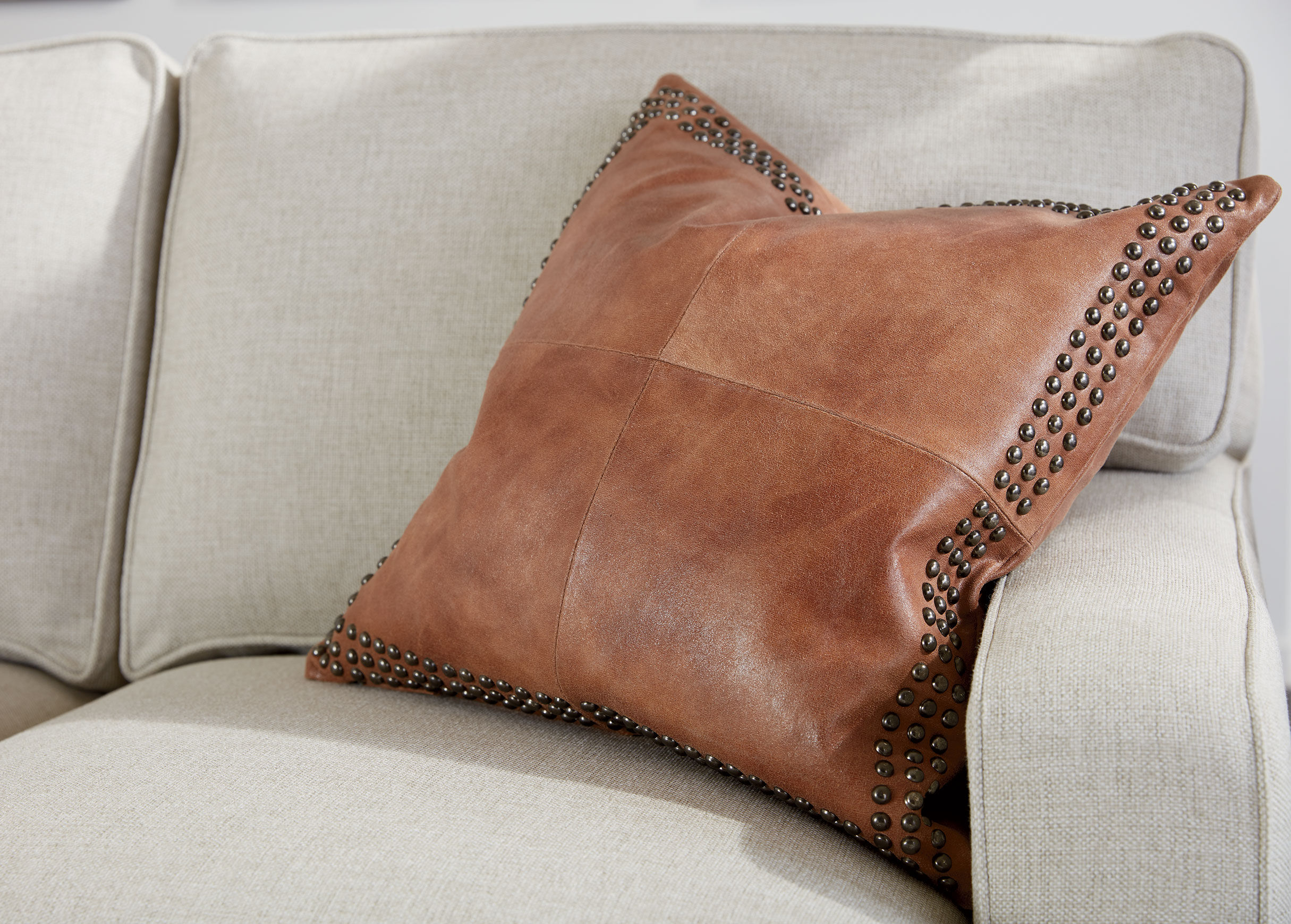 Brown Worn Leather Pillow  Pillows