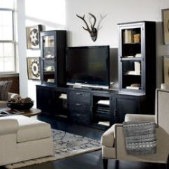 Living Room Media Furniture Faux Leather Console Entertainment Cabinets Ethan Allen Duke Center