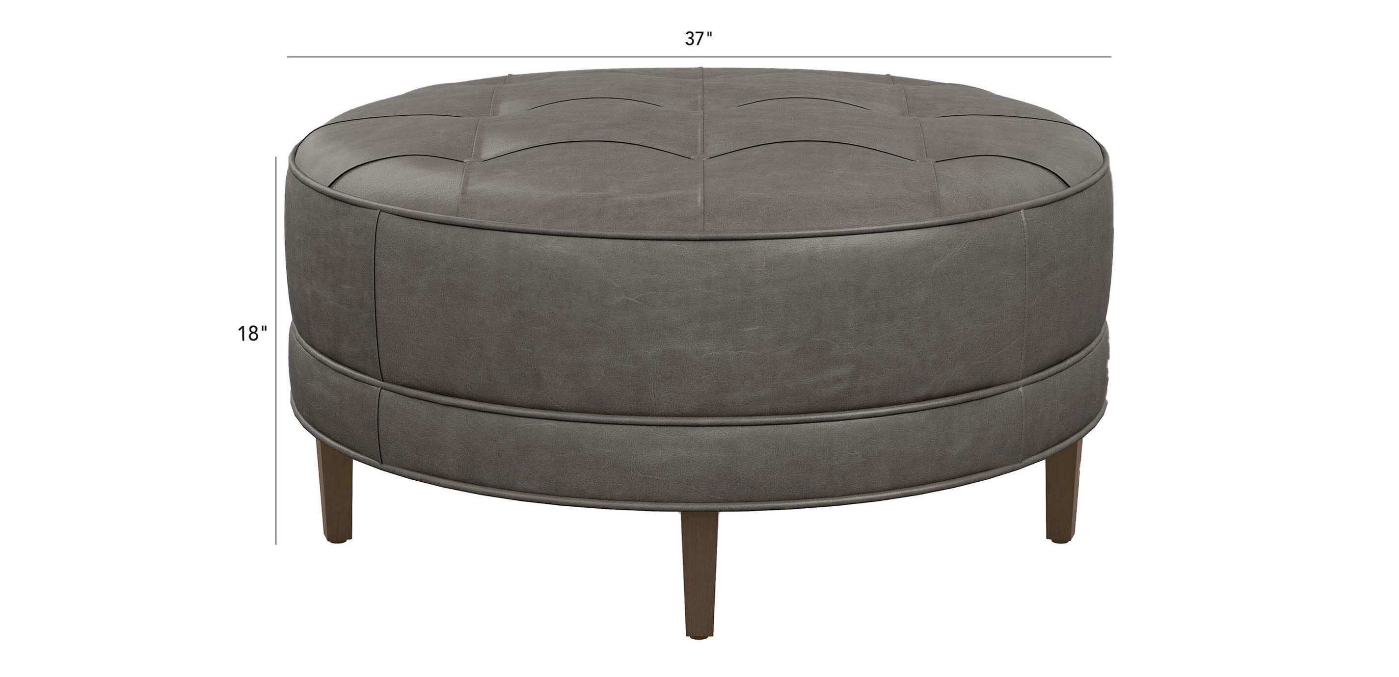 nassau round leather ottoman ethan allen