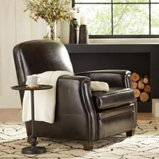 leather living room chairs best brown paint for shop chaise accent ethan custom quick ship