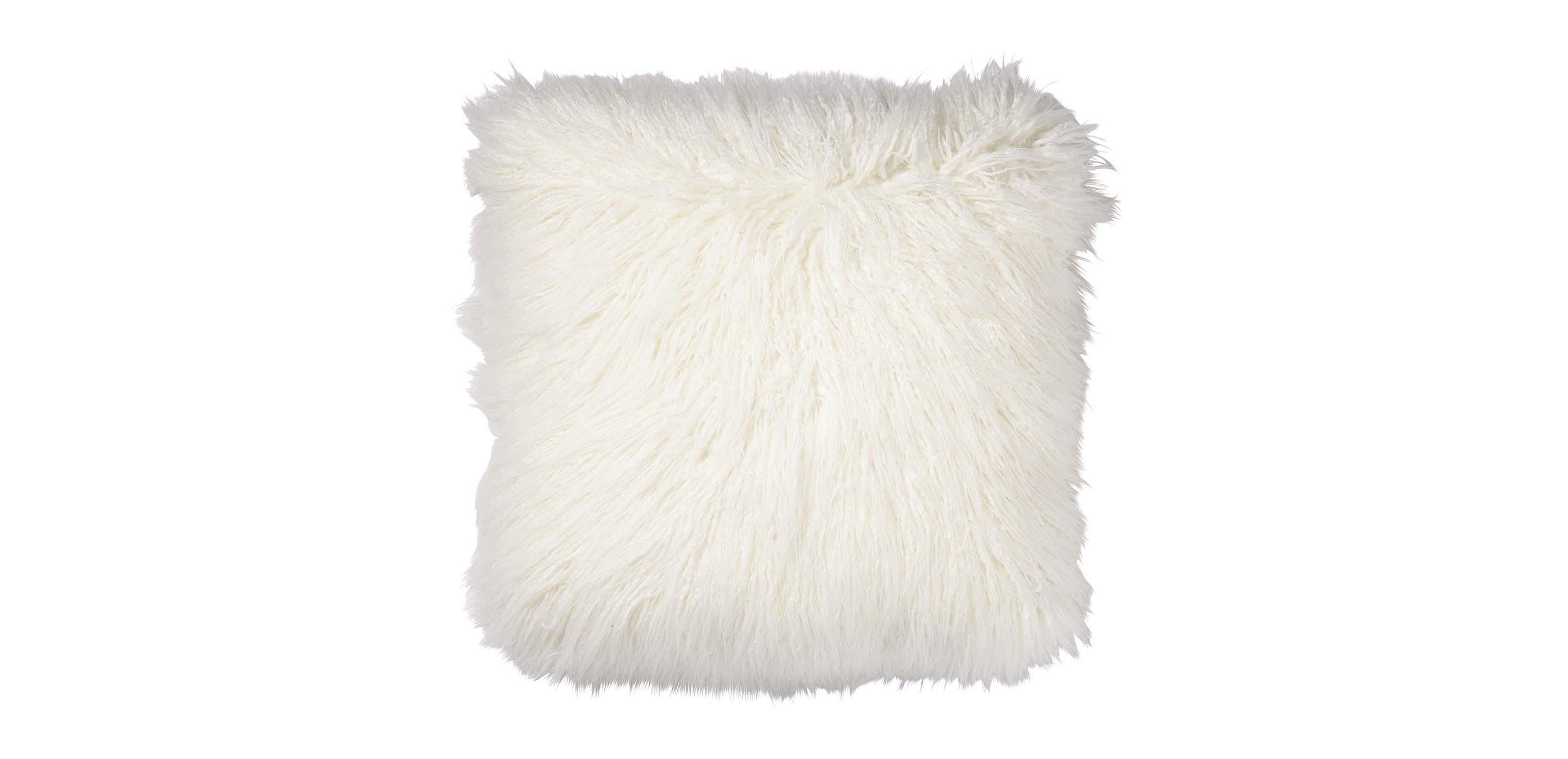 Faux Fur Pillow Ivory  Pillows  Ethan Allen