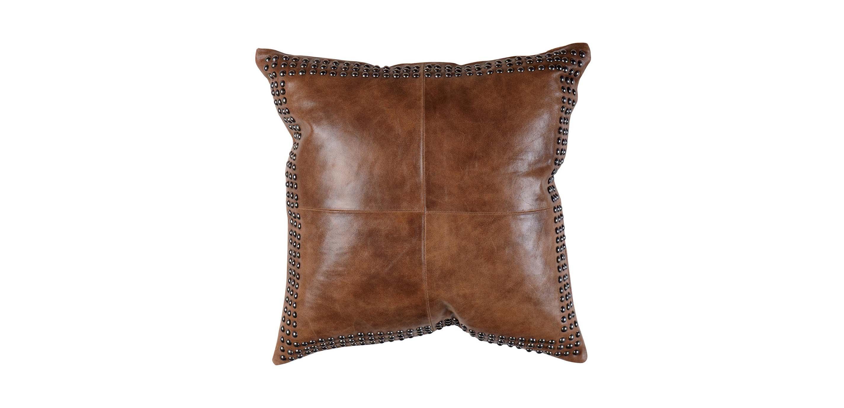 Brown Worn Leather Pillow  Pillows  Ethan Allen