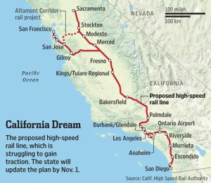 The current proposed California high speed rail route.