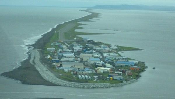 The Village of Kivalina, Alaska, from the air.