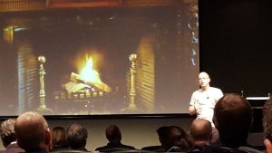 Bas Vodde giving a fireside chat at Scrum Australia 2016.