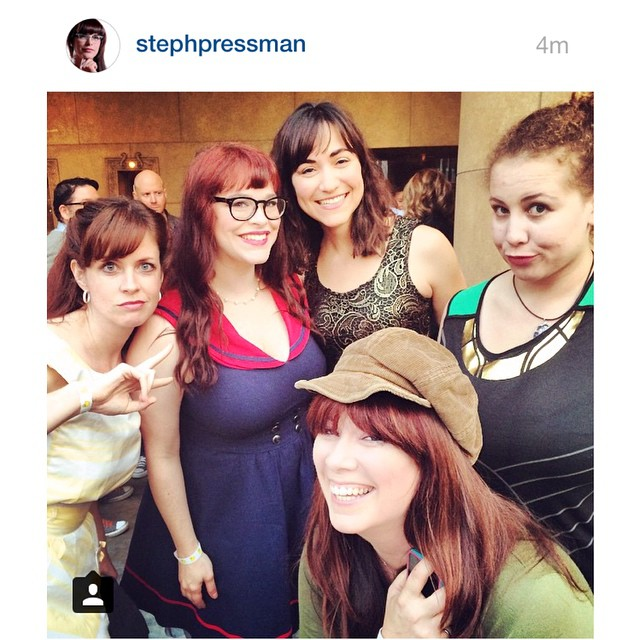 Heidi Honeycutt, Stephanie Pressman, America Young, Anastasia Washington, and Leah Cevoli having a blast at Etheria Film Night 2015