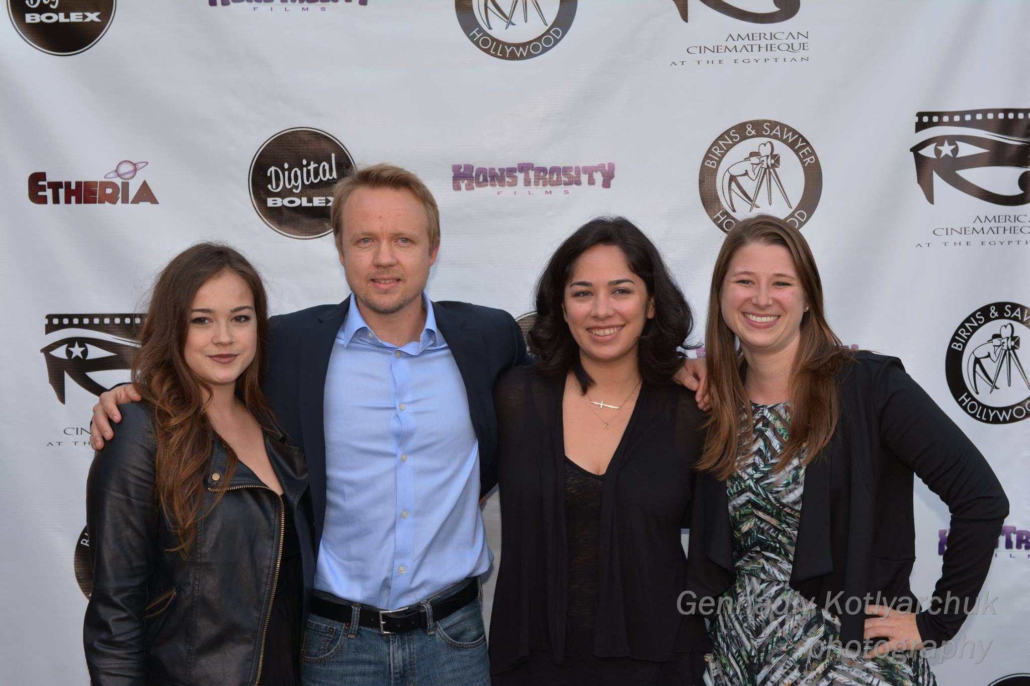 Audience Award-winner SLUT's cast members Molly McIntyre and James Gallo, pose with director Chloe Okuno and producer Lisa Gollobin at Etheria Film Night 2015
