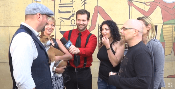 """The """"Tales of Halloween"""" cast and crew members Neil Marshall, Axelle Carolyn, Adam Gierasch, Tiffany Shepis-Tretta, and Kristina Klebe at Etheria Film Night 2015"""