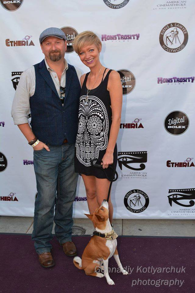 Neil Marshall, Axelle Carolyn, and Anubis at Etheria Film Night 2015