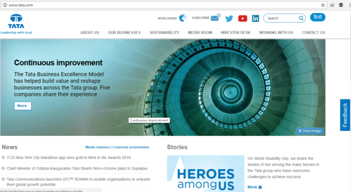 Tata Home Page Screenshot
